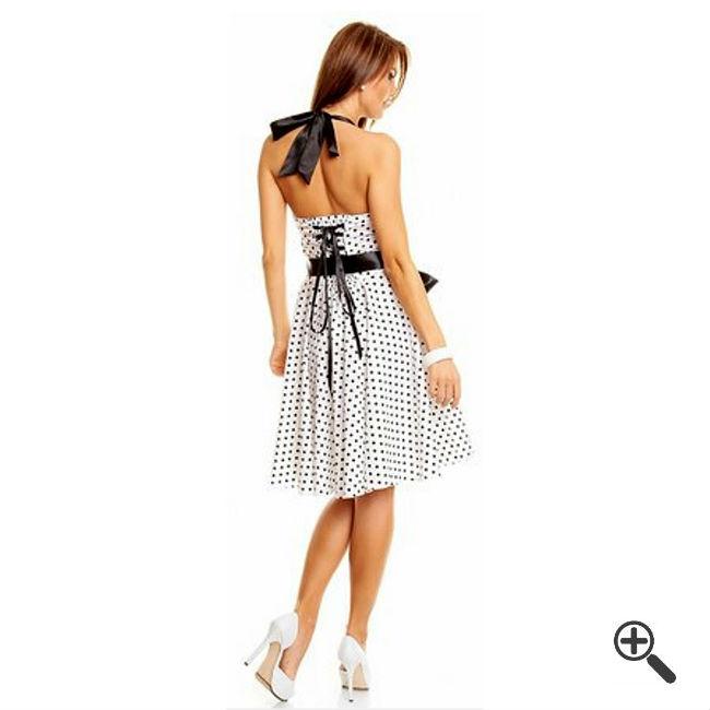 Petticoatkleid in Weiß mit Schwarzen Punkten