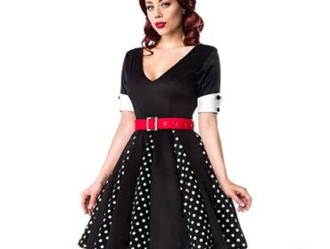 Rockabilly Kleid in Schwarz mit Weißen Punkten