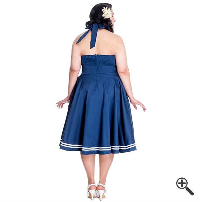 Blaues Rockabilly Kleid für große Größen
