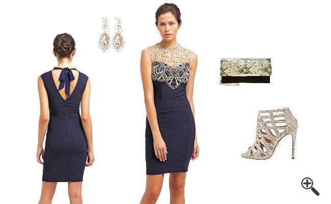Blaues Kleid Kurz Kombinieren Stilvolle Abendkleider In
