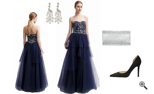 Gold Blaues Kleid