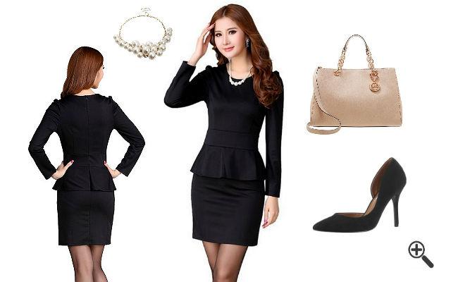 Kleid schwarz gold zalando